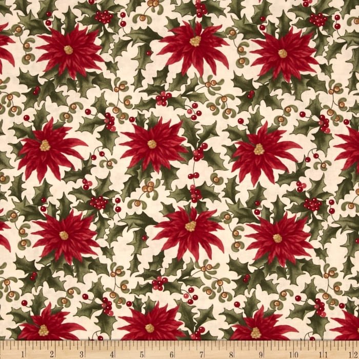 Moda Under the Mistletoe Poinsettia & Mistletoe Linen