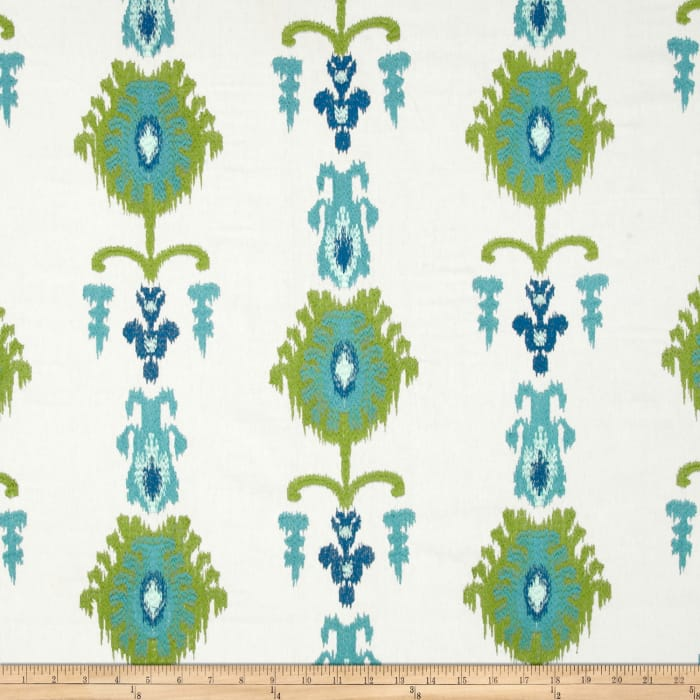 Swavelle/Mill Creek Embroidered Statice Ikat Carribbean
