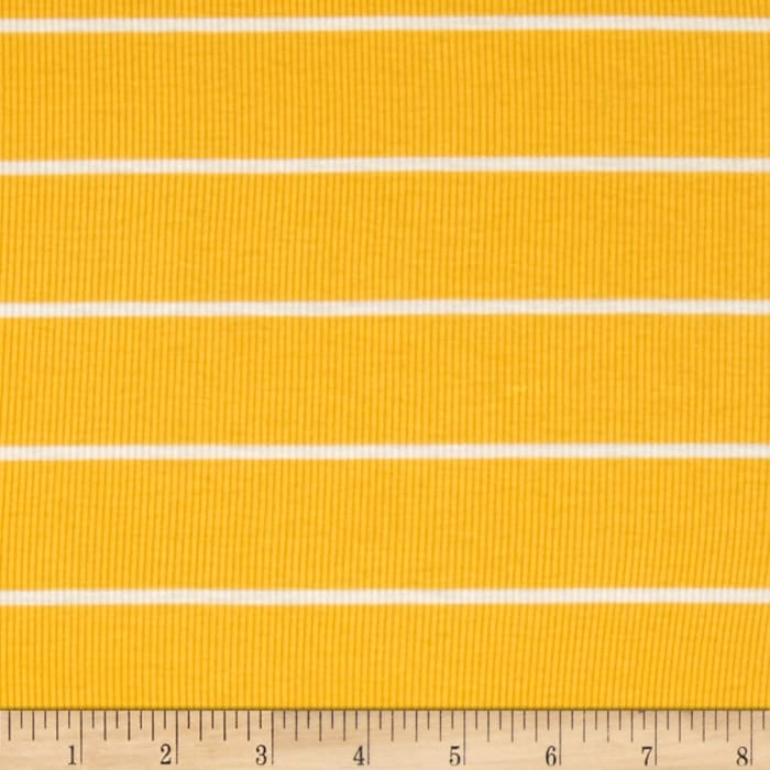 Yarn Dyed Rib Knit Stripe White/Yellow