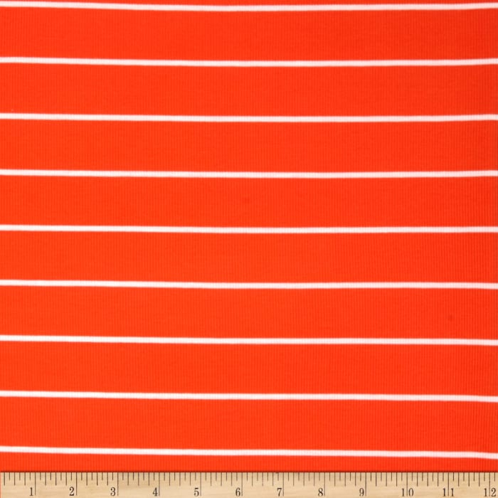 Yarn Dyed Rib Knit Stripe White/Orange