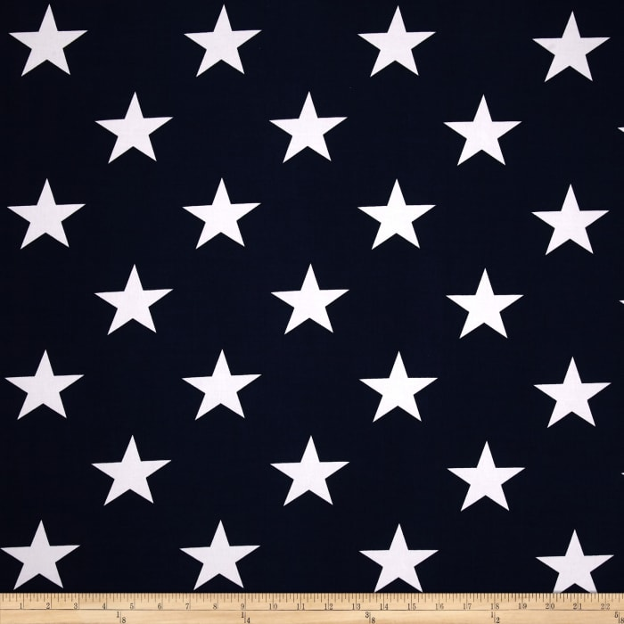 Stretch ITY Jersey Knit Stars Navy/White