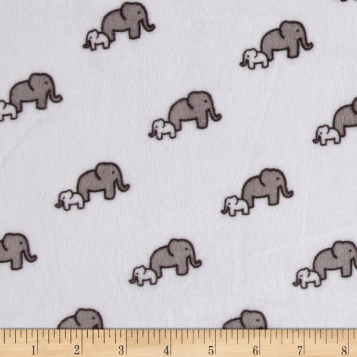 Shannon Robert Kaufman Minky Cuddle Elephants Snow