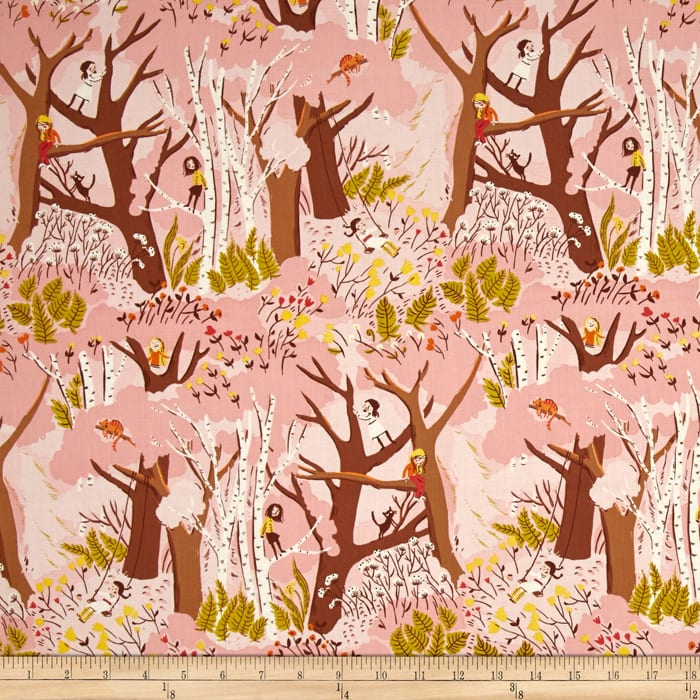 Heather Ross Tiger Lily Climbing Trees Pink