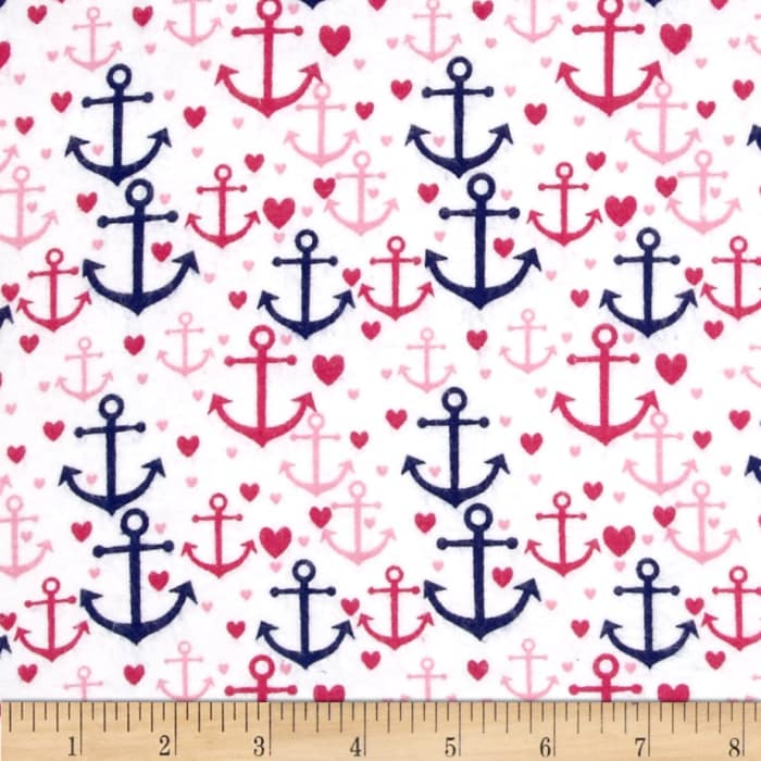 Flannelland Anchor's Away White/Pink