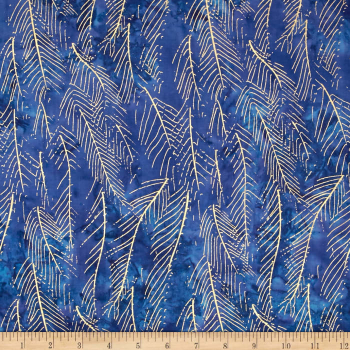 Indian Batik Montego Bay Leaf Metallic Royal