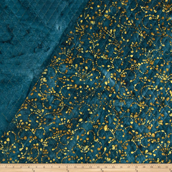Indian Batik Double Face Quilted Scroll Teal