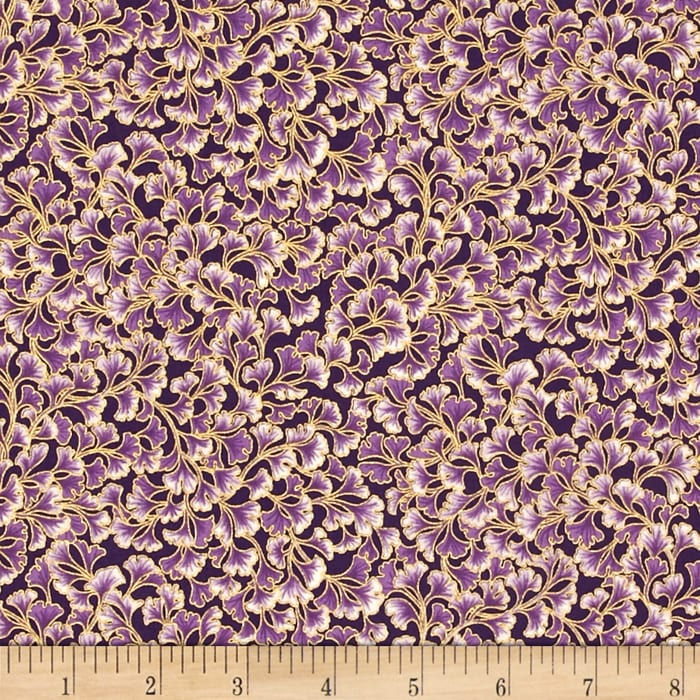 Kaufman Tuscan Wildflower Metallic Flower Spray Purple