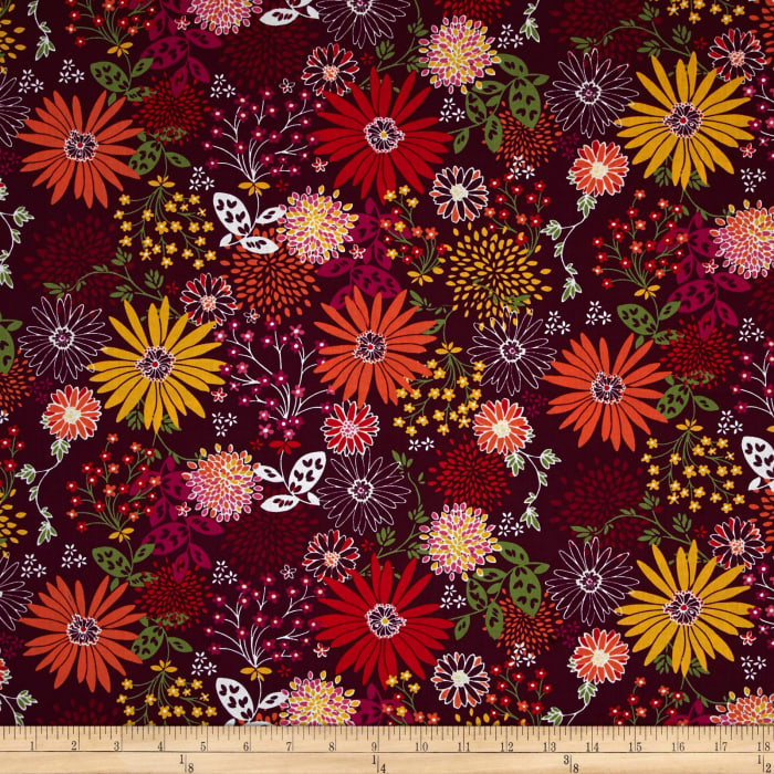 Timeless Treasures Riley Mixed Floral Plum