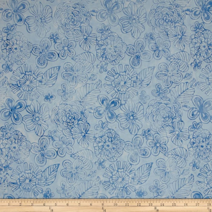 Timeless Treasures Tonga Batik Bouquet Magic Garden Blue