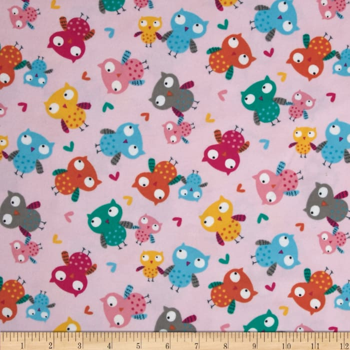 Timeless Treasures Flannel Owl Pink