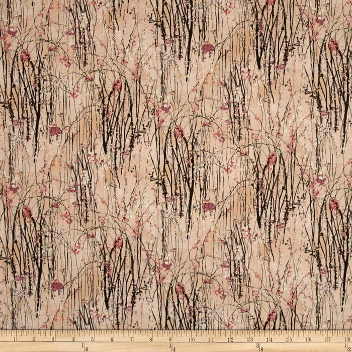 Dream Blossom Metallic Vine Floral Peach/Gold