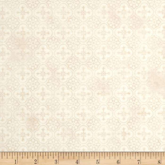 French Country Rooster Medallion Tonal Beige
