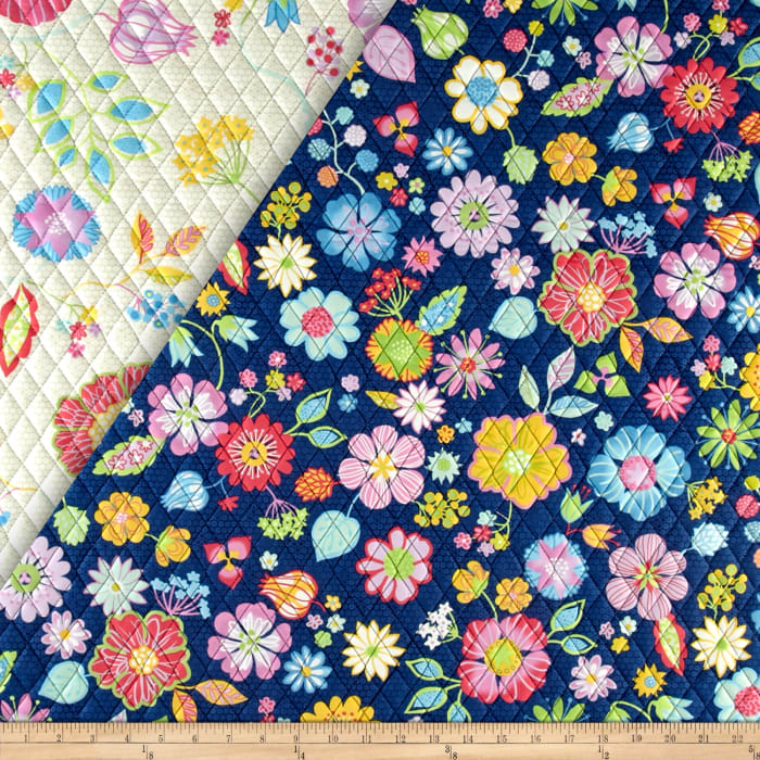 Happy Double Sided Quilted Floral Ecru
