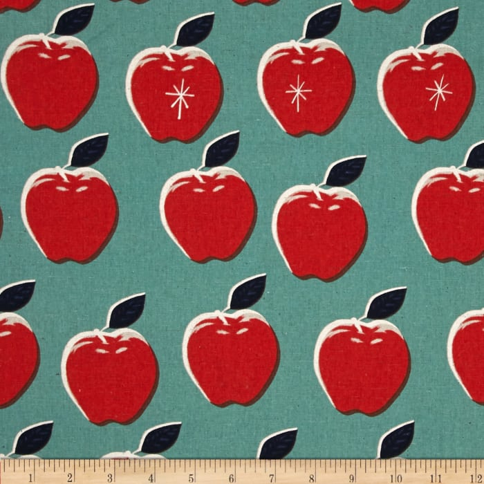 Cotton + Steel Picnic Canvas Apples Red/Blue