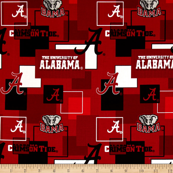 Collegiate Cotton Broadcloth University Of Alabama Block Print