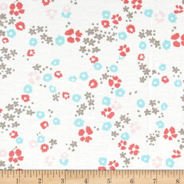 Cloud 9 Organics Scattered Floral Interlock Knit White