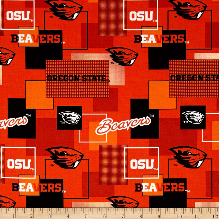Collegiate Cotton Broadcloth Oregon State University Block Print