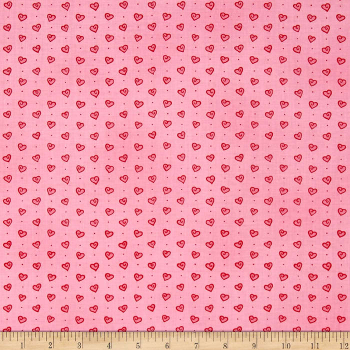 Moda Ever After Tossed Hearts Passionate Pink