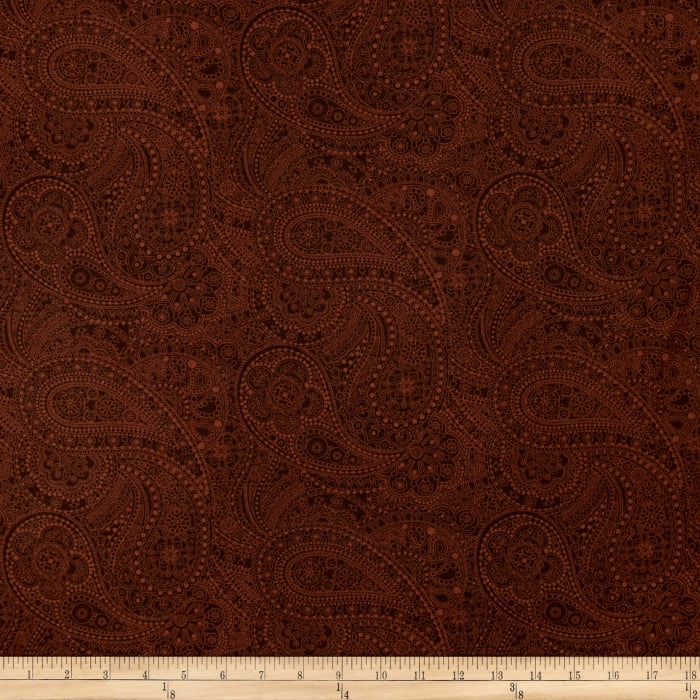 """108"""" Wide Quilt Back Chelsea Dot Paisley Brown"""