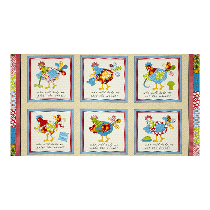 The Little Red Hen 24 In. Panel Cream/Red