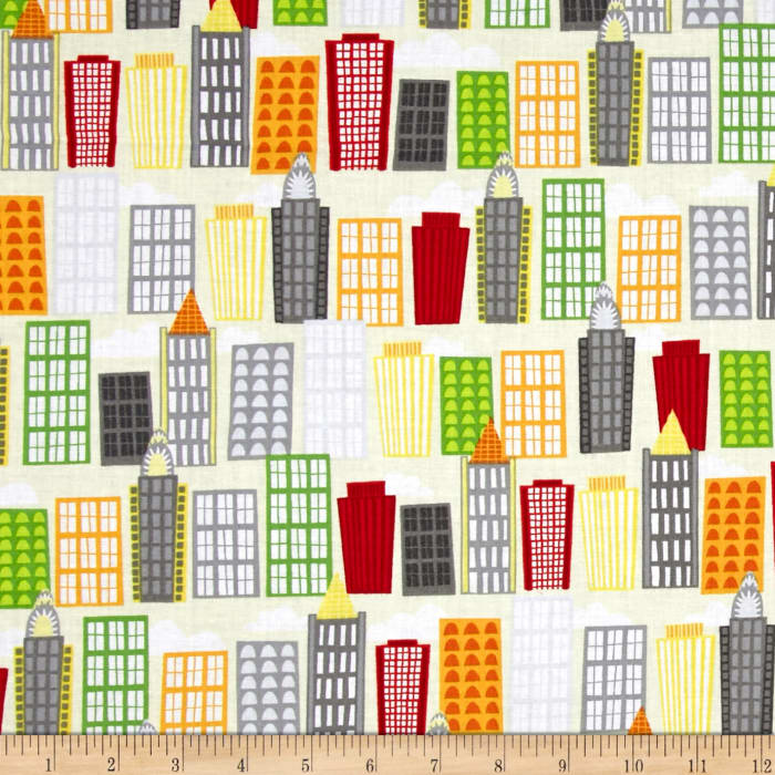 Big City Friends Buildings Yellow/Red