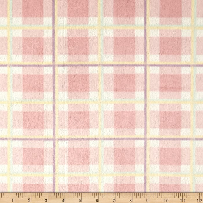 Shannon Minky Plaid Cuddle Pink
