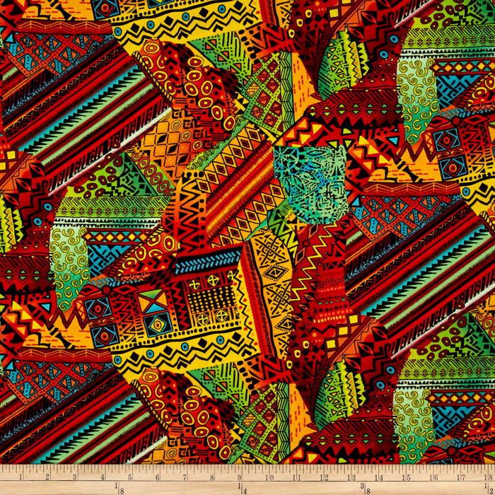 Timeless Treasures African Sunset Patchwork Multi