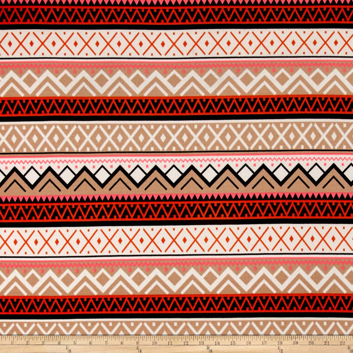 Stretch ITY Knit Aztec Pink Neon Beige Shimmer