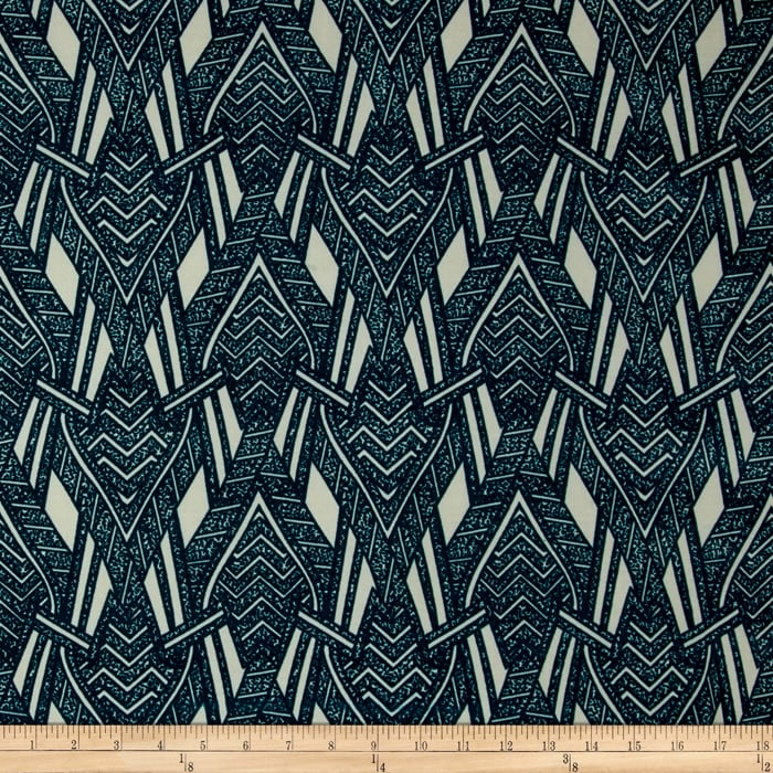 Stretch ITY Knit Abstract Arrows Turquoise