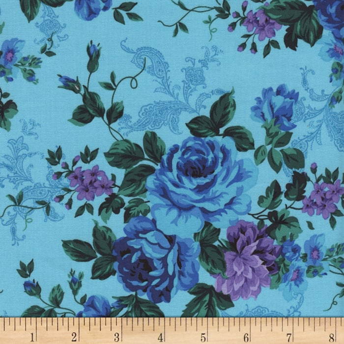 Timeless Treasures Tapestry Rose Bouquet Turquoise