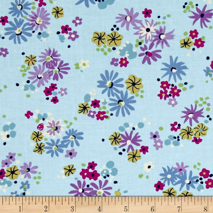 Michael Miller Sea Holly Little Posies Sky