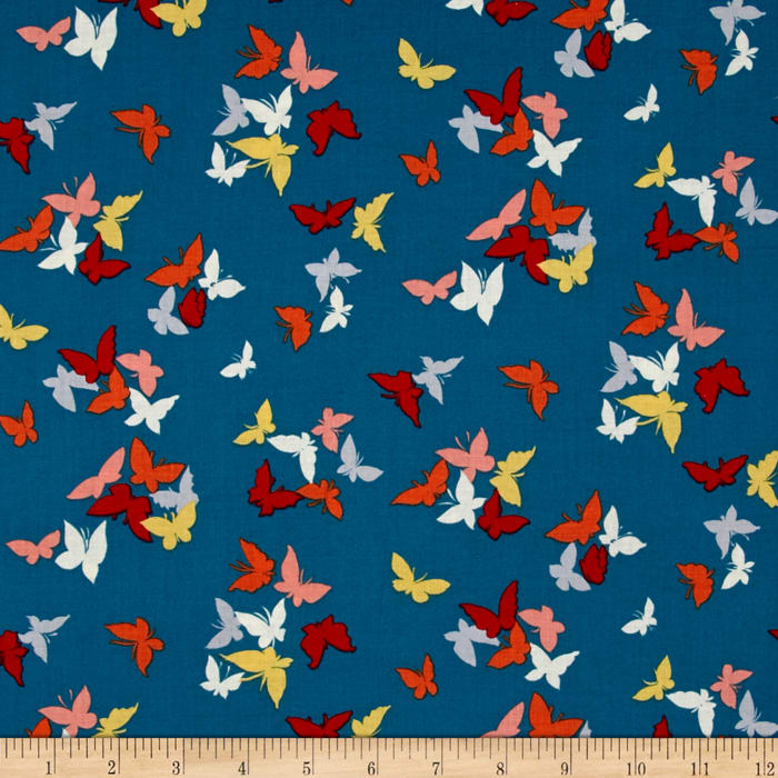 Michael Miller Sea Holly Flutter by Clouds Teal
