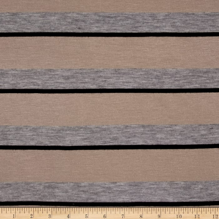 Jersey Knit Stripe Tan/Black/Grey