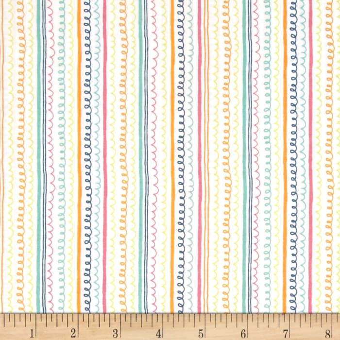 Timeless Treasures Field Day Squiggle Stripe White