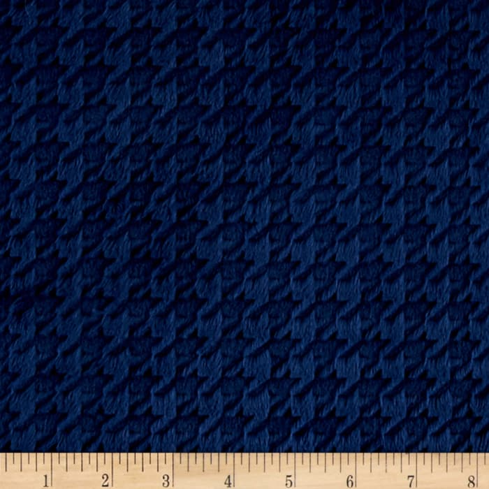 Shannon Minky Embossed Houndstooth Cuddle Navy