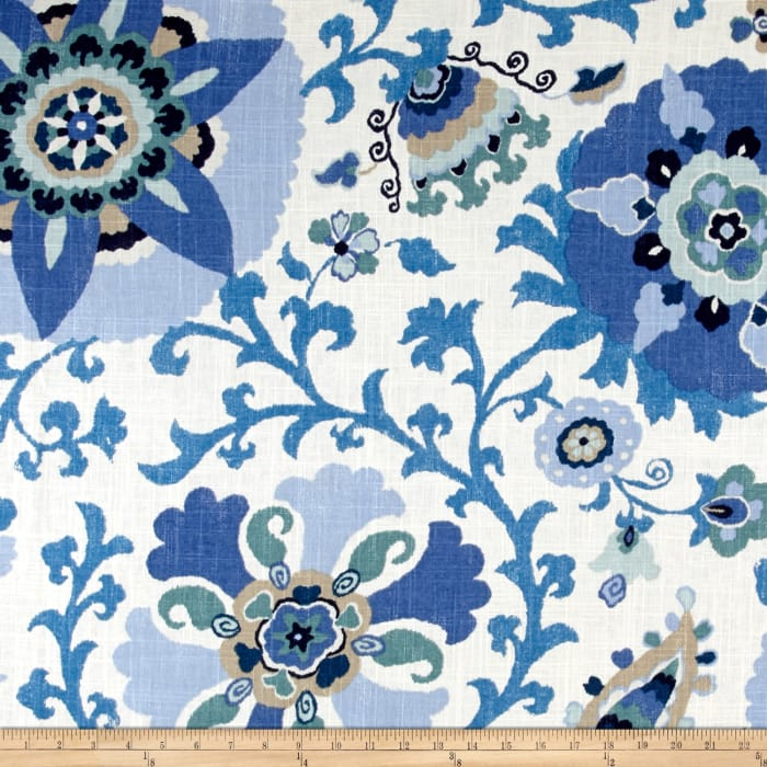 Braemore Silsila Suzani Linen Blend Indian Sea