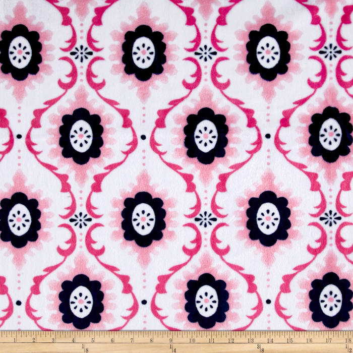 Shannon Minky Cuddle Flourish Paris Pink
