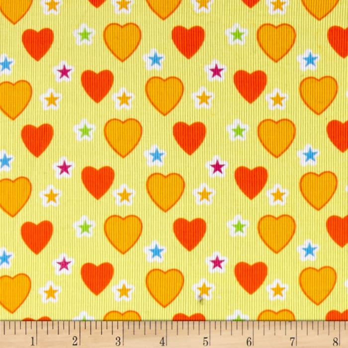 Corduroy Print Hearts Yellow