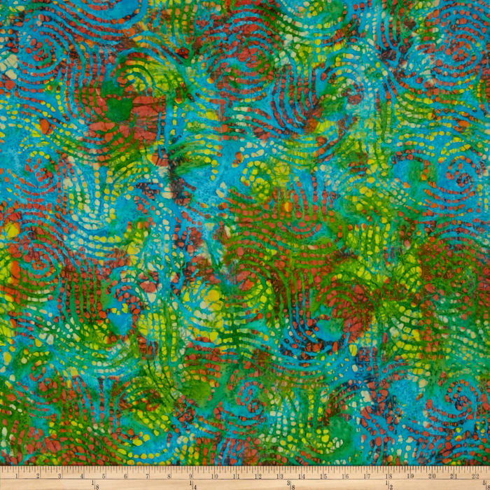 Indian Batik Dream Catcher Abstract  Teal Multi