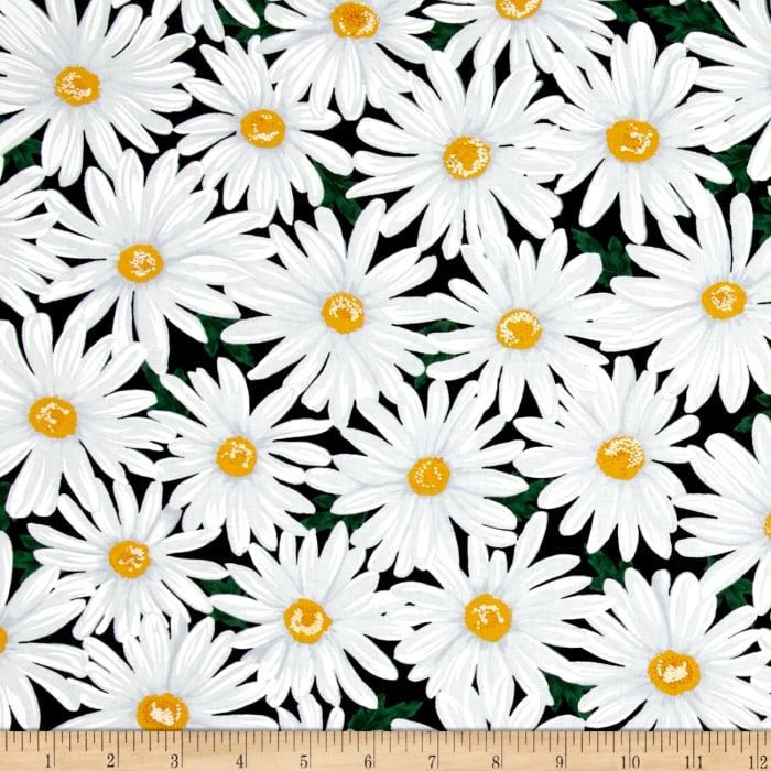 Timeless Treasures Live, Love, Laugh Packed Daisy Black
