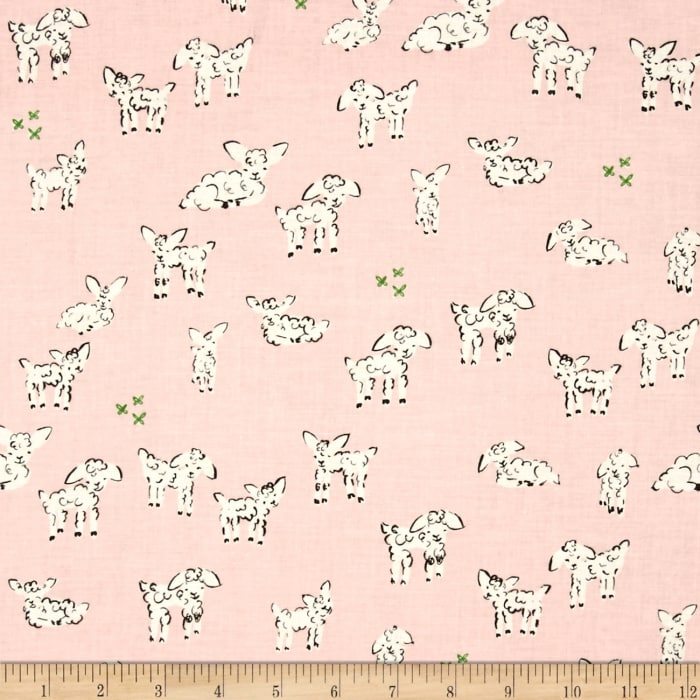 Cotton + Steel Clover Little Lambs Pink
