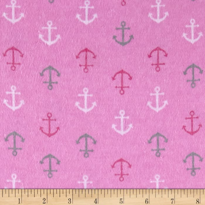 Flannel Baby Anchors Pink