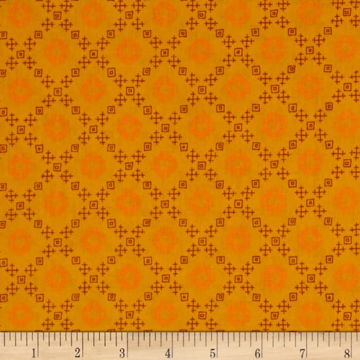 Kaufman Woodland Clearing Geo Plaid Ochre