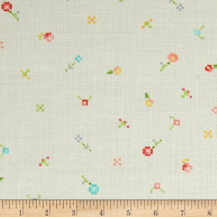 Kaufman Woodland Clearing Geo Dot and Flower Ivory