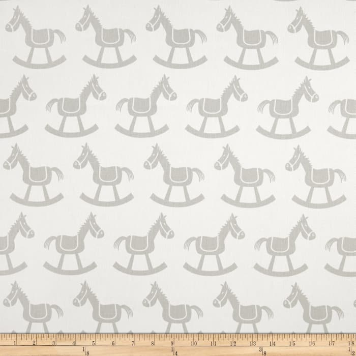 Premier Prints Rocking Horse Twill White/French Grey
