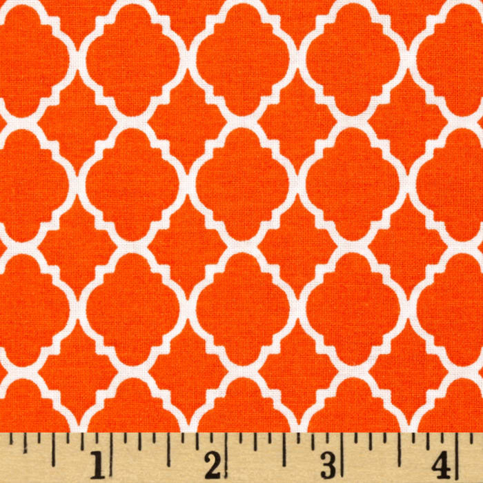 Petit Quatrefoil Orange/White