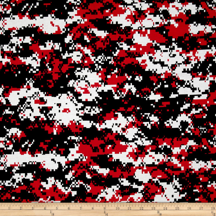 Urban Camouflage Red Black Discount Designer Fabric