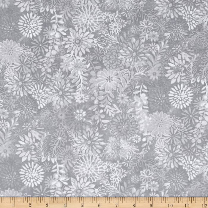 """108"""" Wide Quilt Back Packed Floral Grey"""