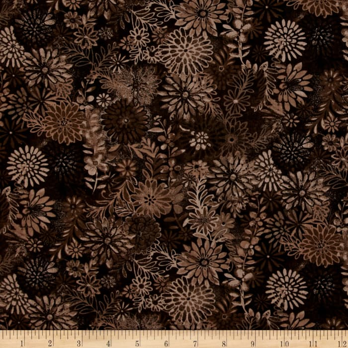 """44"""" Wide Quilt Packed Floral Brown"""