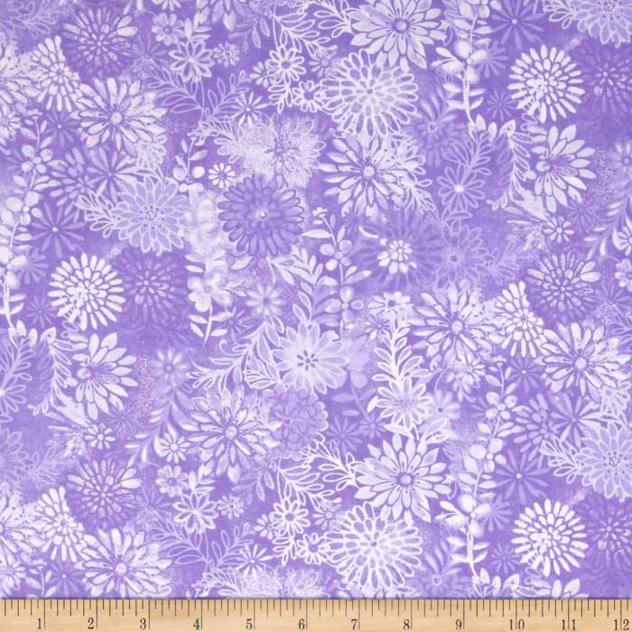 "44"" Wide Quilt Packed Floral Purple"